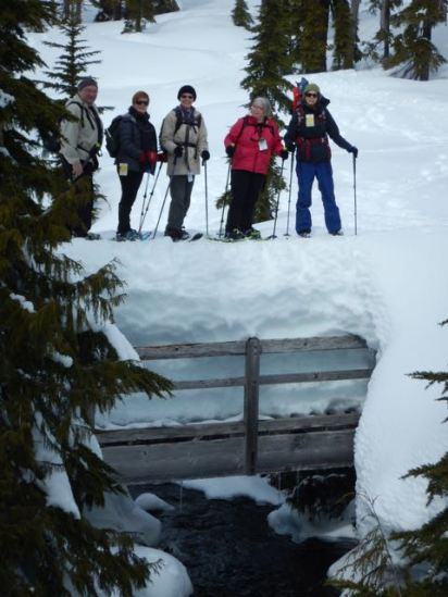 Snow and us on the bridge